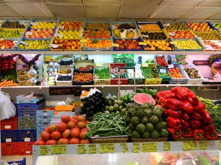 Fresh fruit and vegetables in Santa Catalina Market, Mallorca.