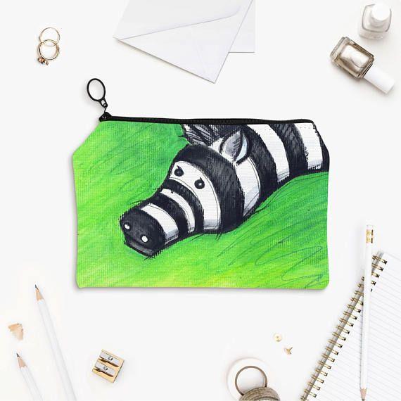 Funny Zebra Print Flat Zipper Pouch Back To School Pencil