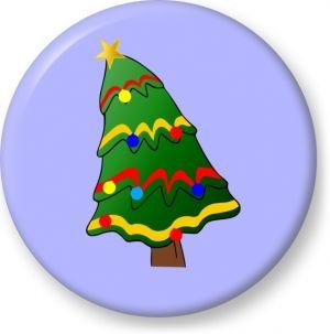 Christmas tree illustration vector - Button Badge - Brooch - Gift