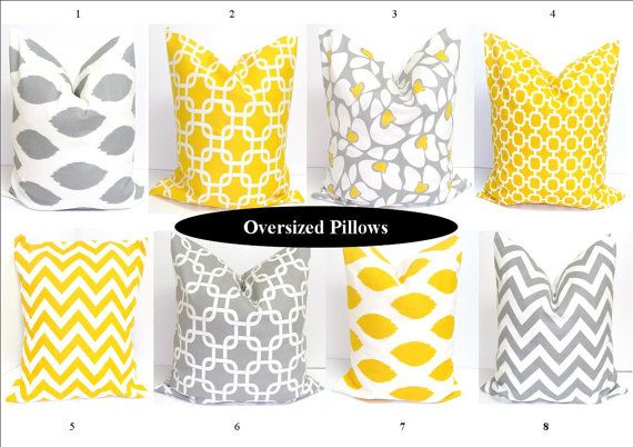 Gray Yellow Pillows .24x24 inch Decorator Pillow Cover.Printed Fabric Front and Back.Cushion Covers on Etsy, $27.23 AUD