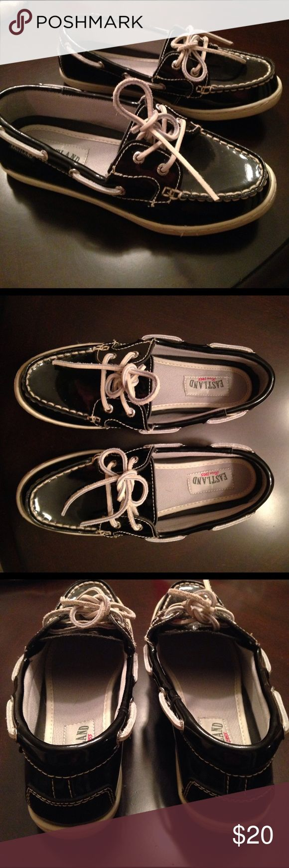 NWOT Eastland Black Leather Shoes. Size 6.5 Eastland Rosy Black leather shoes. New, but without tags. Size 6.5. Leather upper, balance man made materials. Eastland Shoes Flats & Loafers