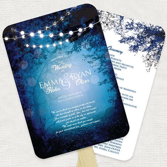 into the woods wedding ceremony program fan diy printable file order of service woodland enchanted forest fantasy magical blue fairy lights