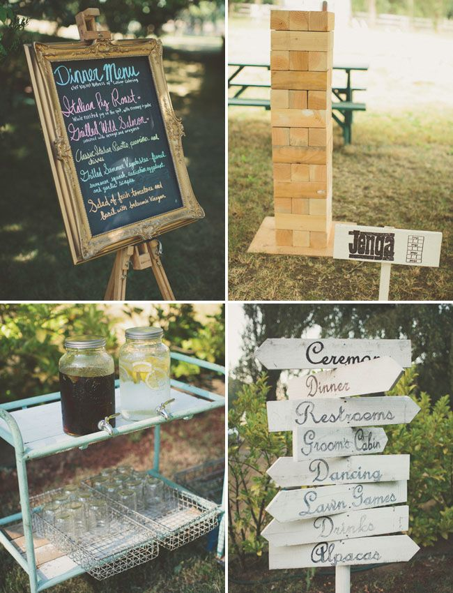 giant jenga wedding game? Love it!  I also really love the other pictures too! haha Signs and old school display for the drinks