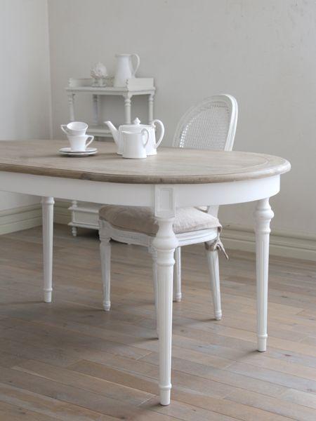 SGDダイニングテーブルオーバルホワイトTOPナチュラルCn - サラグレース