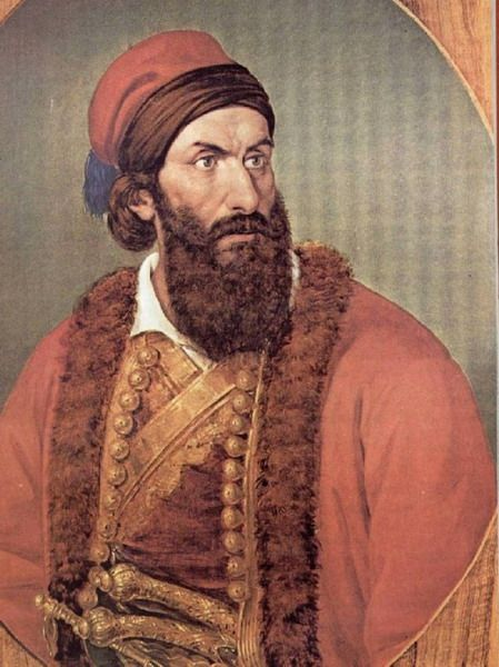 Papaflessas (Fair Gregory) fought bravely during the 1821 revolution. He commanded Greek forces at the battle of Maniaki where he was kiled. The Turkish troops feared him so much that they beheaded his body at the end of the battle to make sure that he was dead