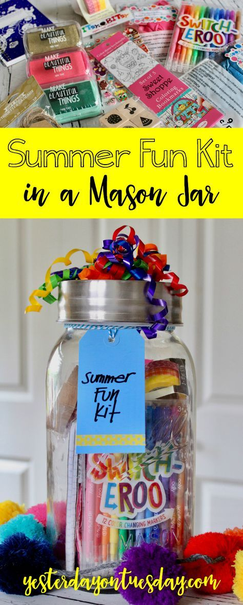 "Summer Fun Kit in a Mason Jar: Keep creative items corralled in a mason jar for those summer days when kids utter those dreaded words ""I'm bored."" Fun way to organize craft supplies."