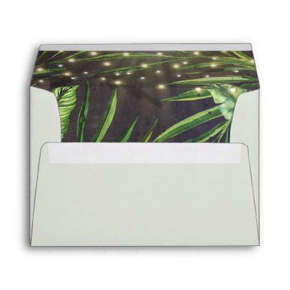 #Tropical Palm String of Lights Beach Envelope - #Wedding #Printed & #Mailing #Envelopes #weddinginvitations #wedding #invitations #party #card #cards #invitation