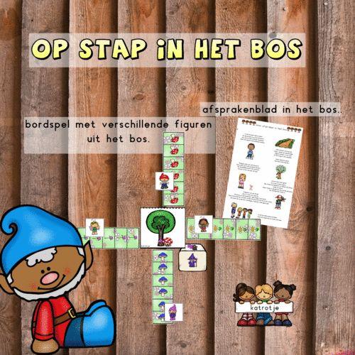 katrotje leuk en gevarieerd bordspel dat je op verschillende manieren en niveaus kan spelen in de kleuterklas of thuis.  met extra afspraken blad voor in het bos.