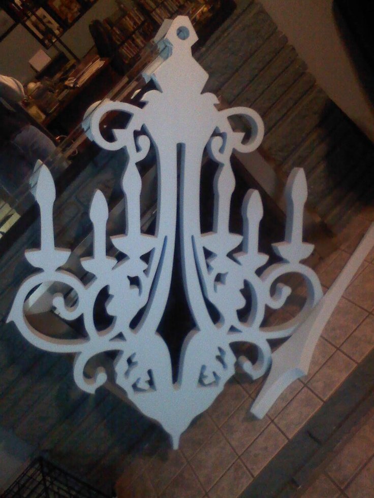 """4'X6' """"Chandelier"""" die cut from home insulation foam (using a CAD file and computer, but could be done with stencil, hot-wire foam cutter and steady hand).  It had an amazing impact on the decor at our women's conference and a recent wedding shower.  So cool and the possibilities are endless for the shapes!"""