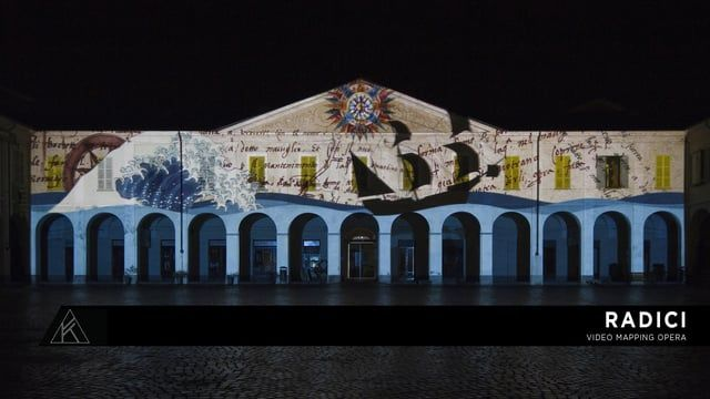 "Ivrea (TO)  Video mapping opera dedicated to the history of Ivrea, performed on the occasion of Museo Civico ""Pier Alessandro Garda"" inauguration.  Projected on the facade of the museum, the show tells the history of the city, from its birth to its industrialization in the 20th century, animating the archaeological and artistic heritage of the museum. Roots run like a scarlet thread through the show, putting together the different chapters of the story, from the origin of Ivrea up to no..."