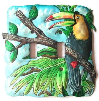 "Toucan Painted Metal Light Switchplate Cover - 2 Holes - 6"" x 6""  - Tropical Decorating – Painted Metal Tropical Decor – Hand Painted Metal – Haitian Steel Drum Metal Art – Tropical Design – Metal Wall Decor – Caribbean Art – Outdoor Garden Decor -   See more tropical designs at www.TropicAccents.com"