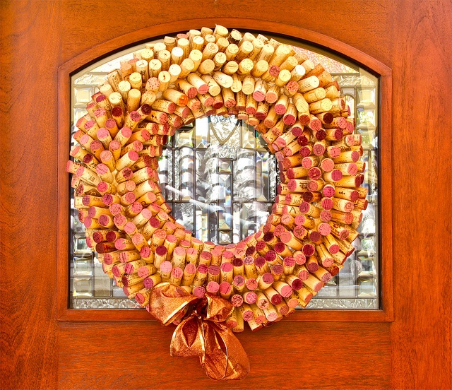 #4 White Over Red Cork Wreath