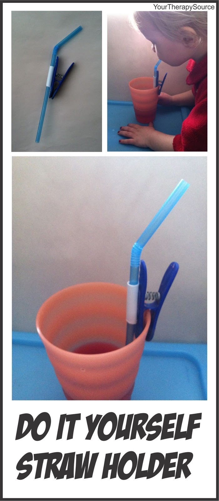 Your Therapy Source: Adapted Straw-DIY straw holder. Pinned by SOS Inc. Resources. Follow all our boards at pinterest.com/... for therapy resources.