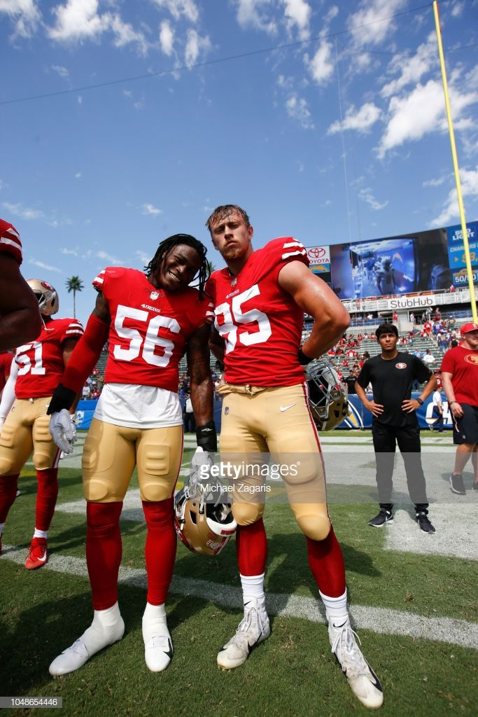 be2e0ac62 Reuben Foster and George Kittle of the San Francisco 49ers stand on ...