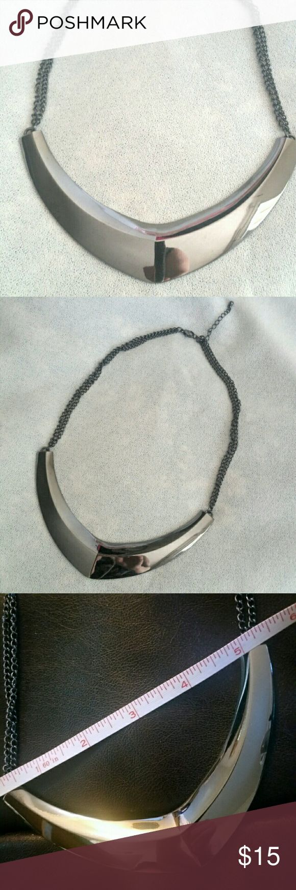 Silvertone Gunmetal V-Collar Necklace A great fashion accessory and versatile to wear on a night out to the club or with your career wear! Jewelry Necklaces