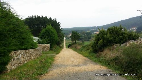The long coastal road from Finisterre to Muxía, Spain, on the extension of the Camino de Santiago.