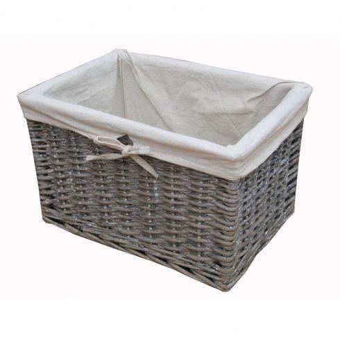 grey wash wicker storage basket lined