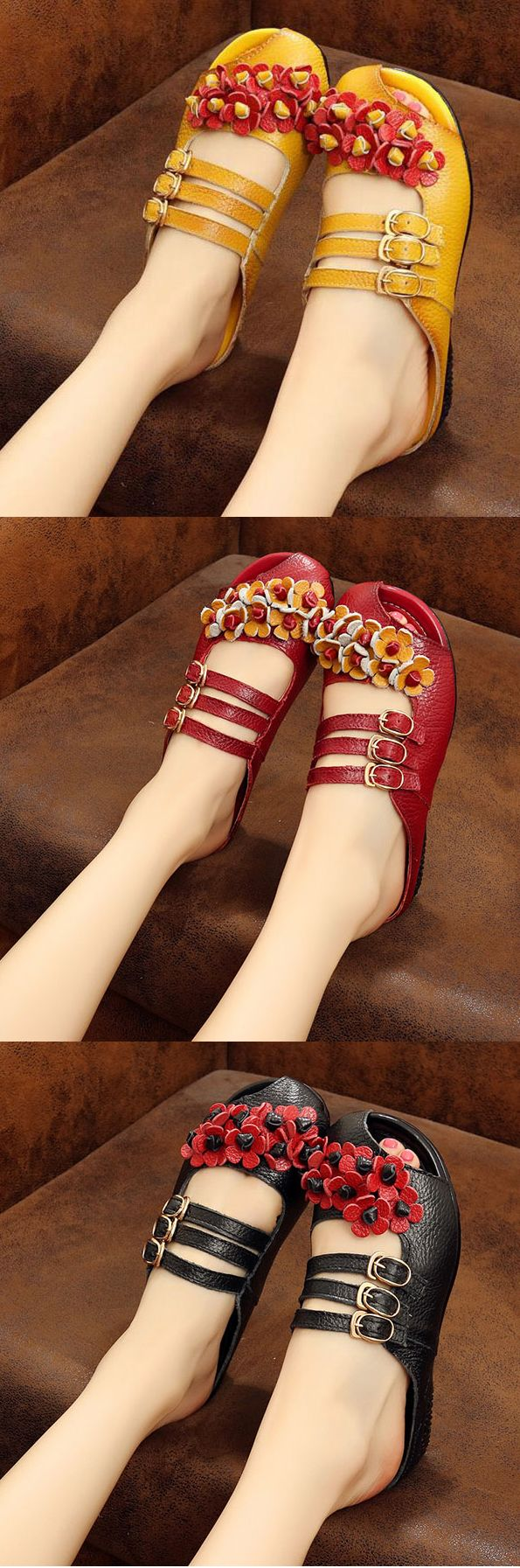 SOCOFY Leather Backless Buckle Flower Soft Flat Lazy Shoes