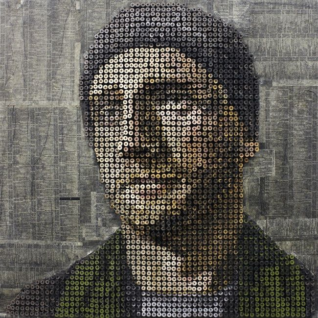 more Andrew Myers portrait work. Background is telephone pages from the subject's area.
