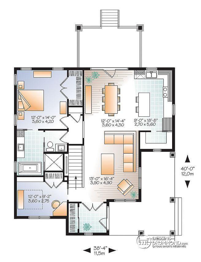 Plan de Rez-de-chaussée Maison style champêtre rustique, possibilité de 4 chambres, bureau à domicile, garde-manger, bonus - La Vallée 5