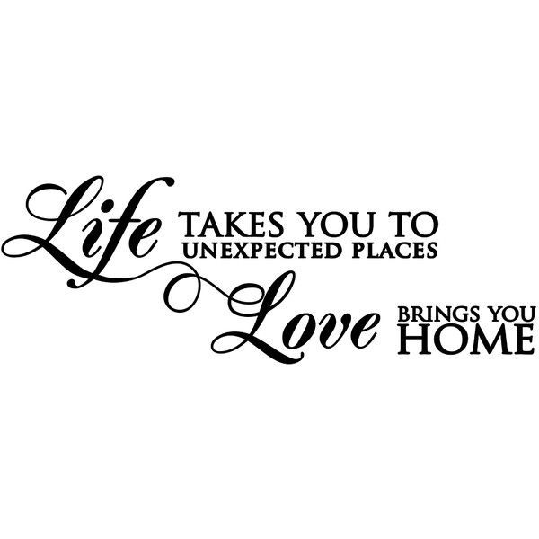 Love Brings You Home Wall Decal ($20) ❤ liked on Polyvore featuring home, home decor, wall art, black wall stickers, wall stickers, wall quote stickers and wall-sticker