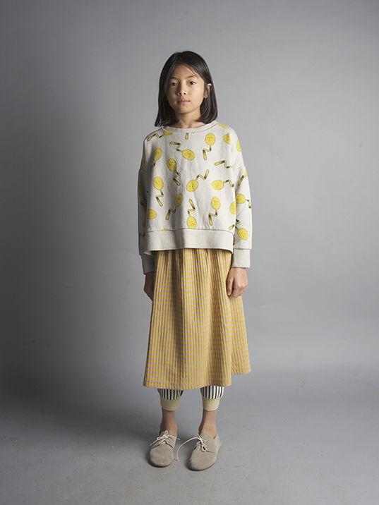 Bobo Choses AW16 Sweatshirt Spoons, Midi Skirt Mustard Stripe - at www.scandimini.co.uk