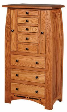 Large jewelry armoire, handmade Amish furniture.