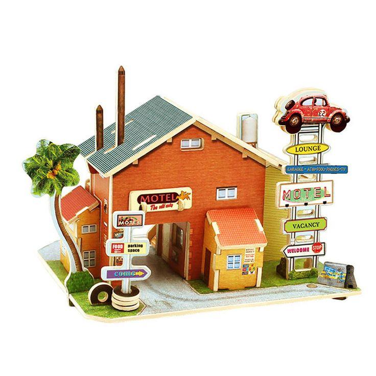 Экологически чистой Бумаге Новое Строительство Пазлы Детские Дети 3D Головоломки Игрушки детские Деревянные Мотель Здание Головоломки Развивающие Игрушки FCI #