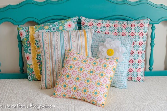 Start at Home: Turquoise Queen/Full Headboard & Pillows