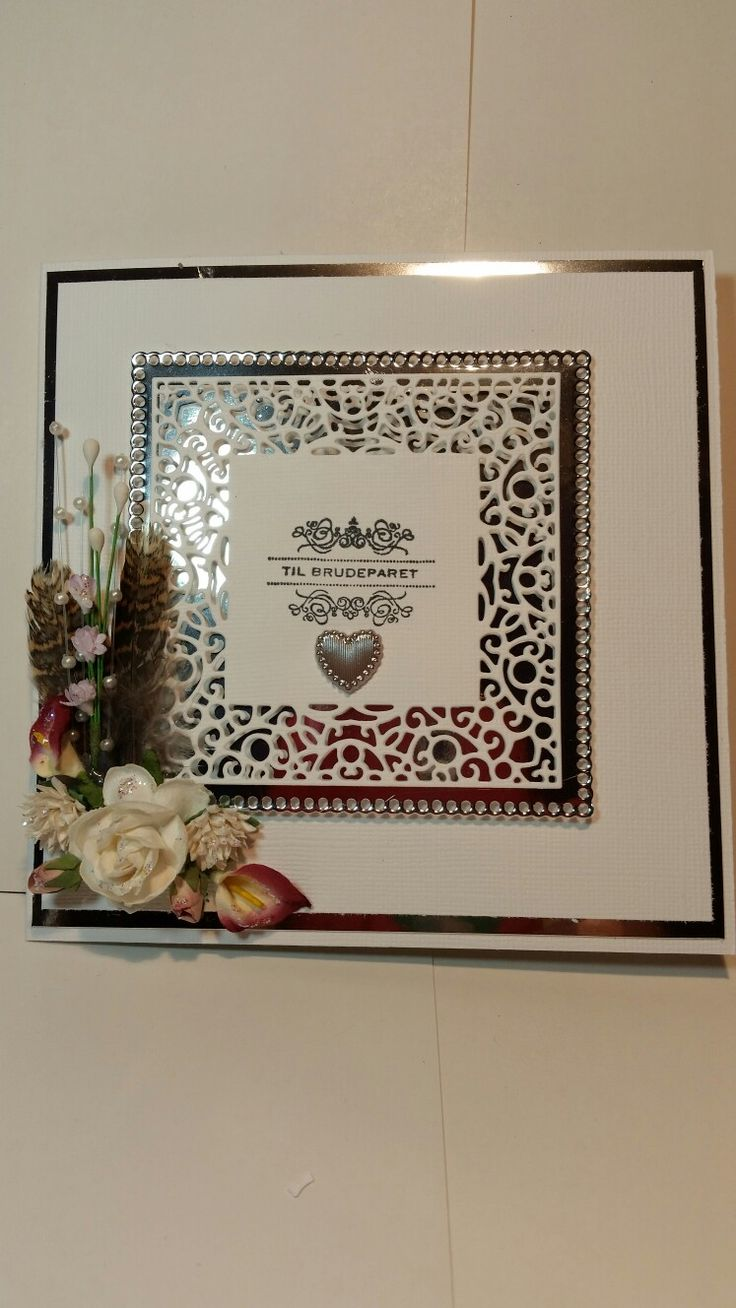 White and silver wedding card