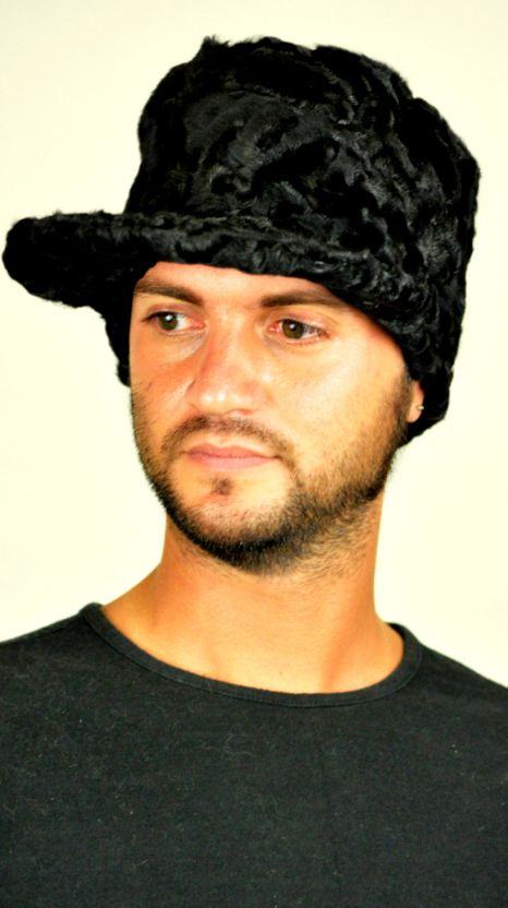 Stylish Karakul fur hat with visor  www.amifur.co.uk
