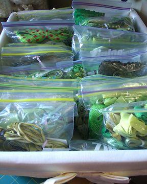 store ribben in zip baggies in a bin