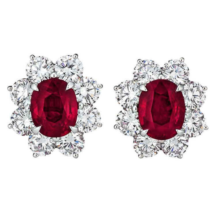 Burmese Ruby and Diamond Earrings | From a unique collection of vintage lever-back earrings at http://www.1stdibs.com/jewelry/earrings/lever-back-earrings/