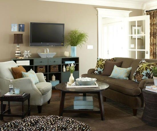 Fun blue accent color with brown couch living room ideas for Fun living room chairs