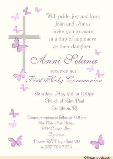 Catholic First Communion Invitation Wording