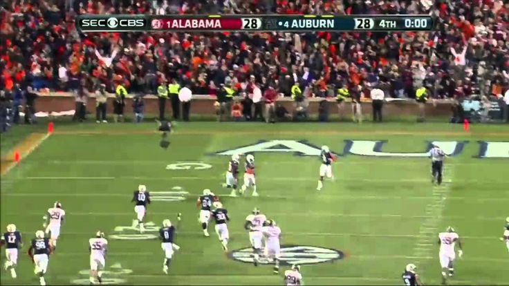 Auburn defeats Alabama - Chris Davis returns missed field goal 100+ yard... Doesn't get any better....bye bye roll tide