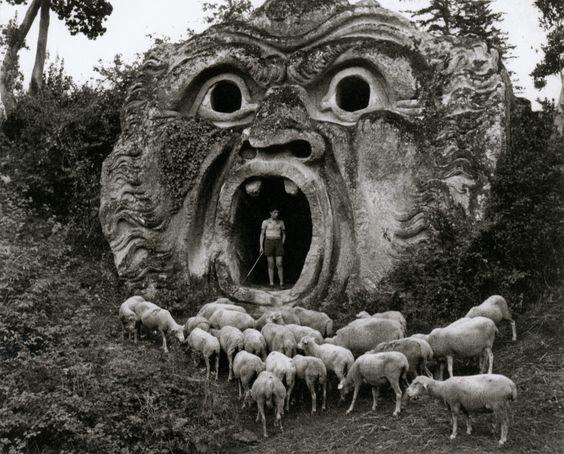 Grotesque Figure, Park of Palazzo Orsini, Bomarzo, Italy photo by Herbert List, 1952
