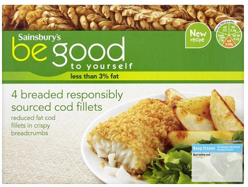 Sainsbury's Be Good to Yourself Breaded Responsibly Sourced Cod Fillets (4 per pack - 500g)