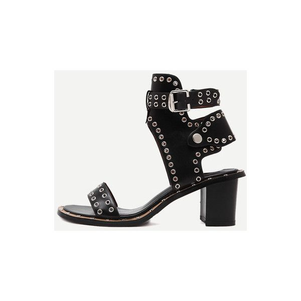 SheIn(sheinside) Black Open Toe Eyelets Chunky Sandals (51 AUD) ❤ liked on Polyvore featuring shoes, sandals, black, mid-heel sandals, black platform sandals, ankle wrap sandals, black mid heel sandals and black platform shoes