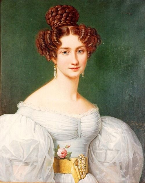 28-12-11  Eugenie Hortense Auguste Napoleon de Beauharnais  1826  Joseph Karl Stieler. Something about the yellow as an accent for the white is striking and I see it a lot in my research