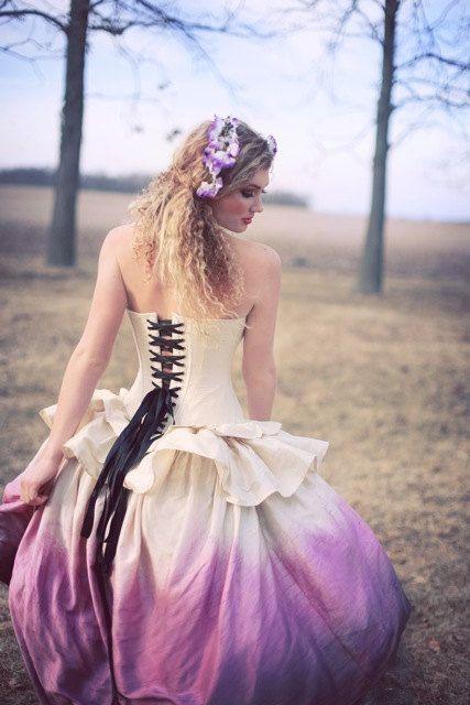Ombre Wedding Dress Steampunk Fairytale Gown by KMKDesignsllc