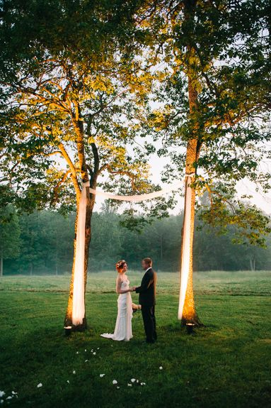 Stunning outdoor wedding ceremony in the woods. From Real Southern Accents & Fotos by Jeff.