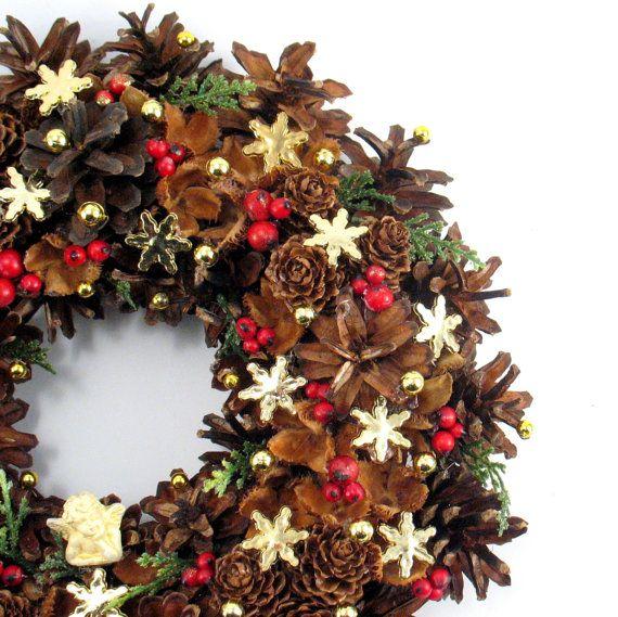 Christmas Wreath Angel Wreath Pinecone Wreath by ZielonePalce