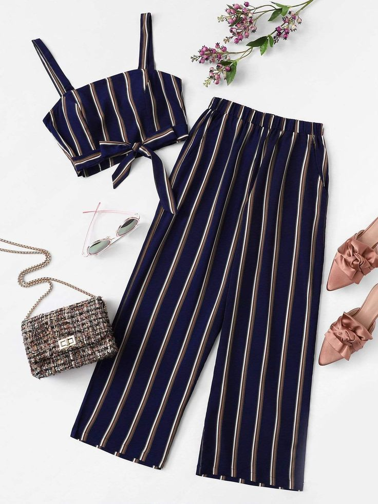 Plus Knot Front Striped Top & Pant