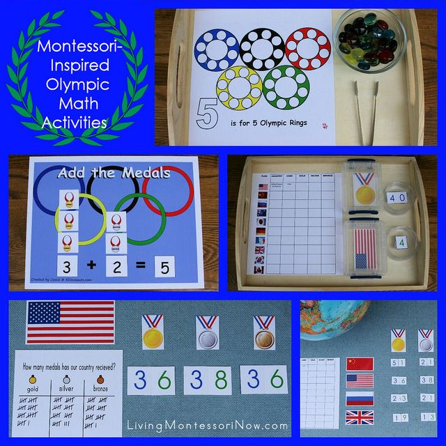 Montessori-Inspired Olympic Math Activities - my post at PreK + K Sharing with lots of links to printables and ideas for creating Montessori-inspired Olympic activities