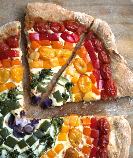 Rainbow Pizza | This is, hands down, the prettiest pizza you'll ever make.
