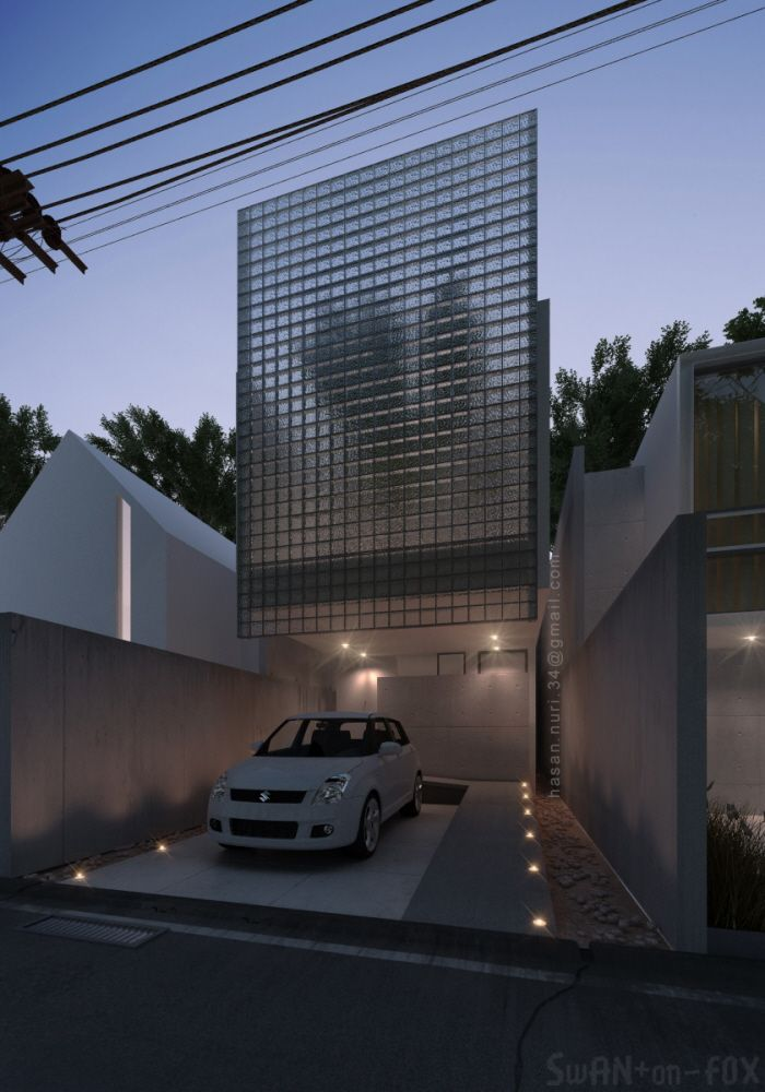 The house with 600 pieces of glass block on the facade, its only 4 meter width, but the light and the air are surrounding all over the spaces. The split levels are the solution for the design as it al...