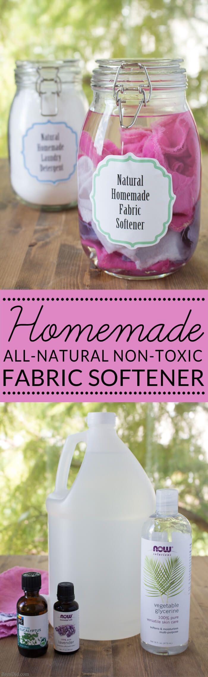 homemade fabric softener | all natural fabric softener | green cleaning and laundry | non-toxic fabric softener - Learn how to make homemade fabric softener dryer sheets.  via @brendidblog