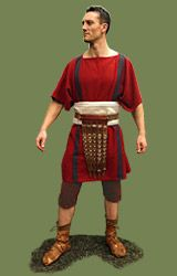 Roman Outfit 1st cent.  Century - Sources:  Full Roman outfit (0 -100 d.c circa)  Package includes:  95,00 - square Tunica cum clavi (stripes)  155,00 - Paenula (cloak)  25,00 - Fascia ventralis (waistband)  55,00 - Braccae (trousers) just-under-the-knee length  29,00 - Udones (socks)
