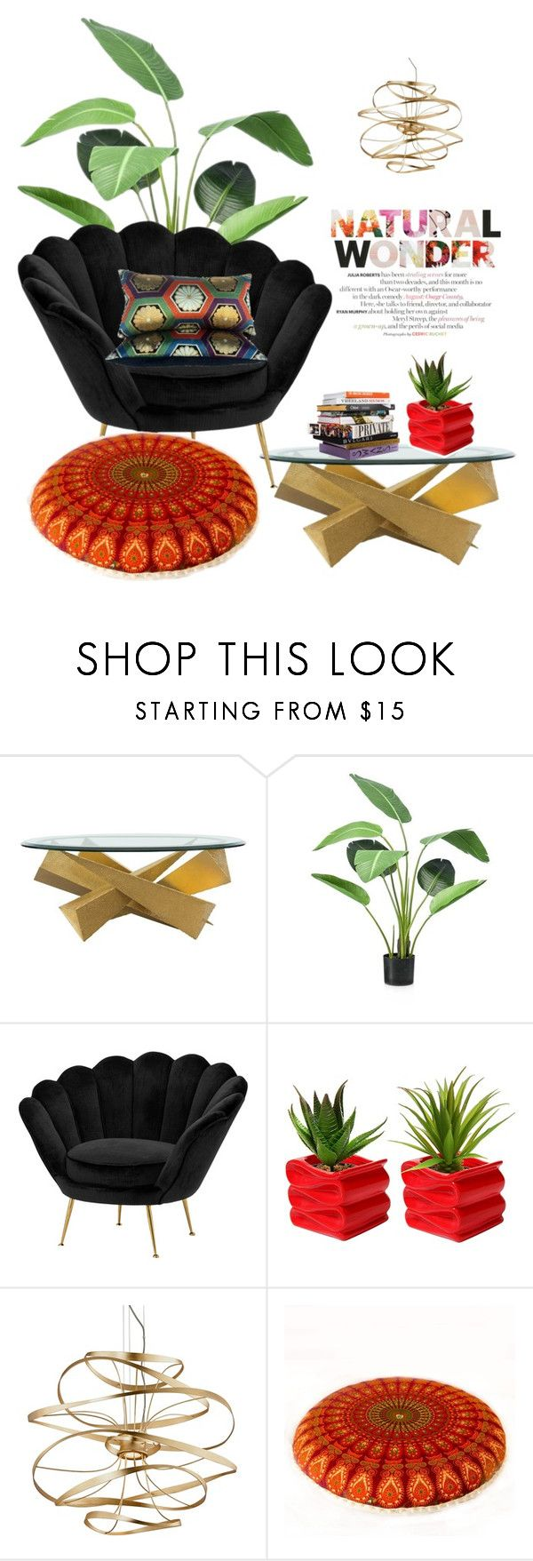 """With Plants"" by noticeably-subtle ❤ liked on Polyvore featuring interior, interiors, interior design, home, home decor, interior decorating, Eichholtz, Anna Sui and Corbett Lighting"